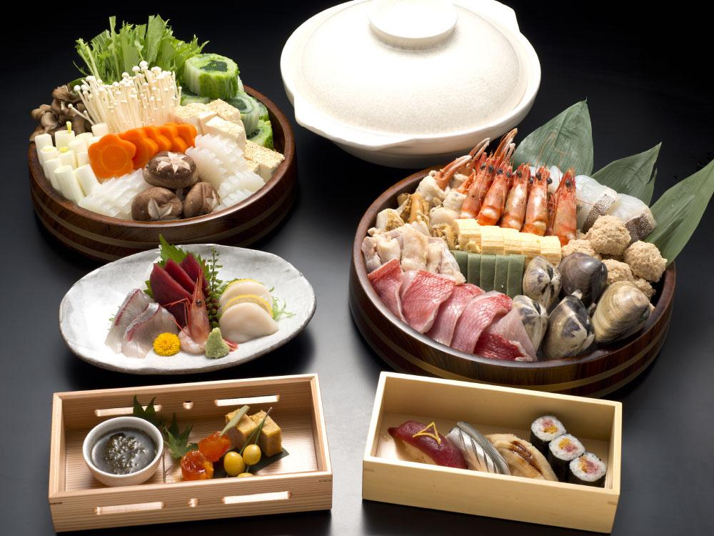 寿司と鍋会席