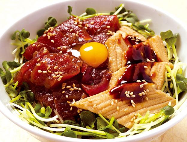 づけ鮪と穴子丼(お椀またはうどん)